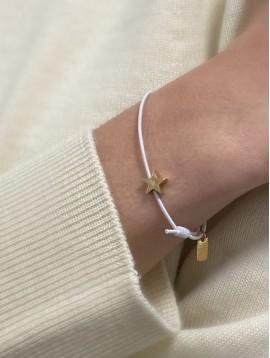 Bracelet Acier - Pastille étoile sur cordon coloré