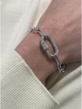 Bracelet Acier - Pendentif mousqueton stass sur chaine maille forçat
