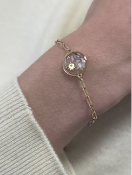 Bracelet Acier - Cercle éclats de verre colorés et soleil sur chaine