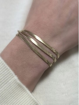 Bracelet Acier - 3 rangs avec chaines en maille mirroir