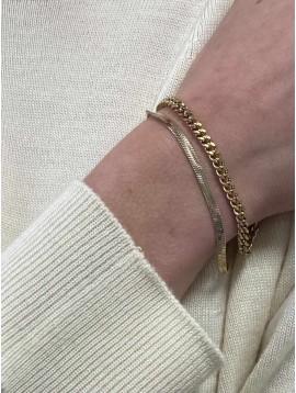 Bracelet Acier - Multi-chaines maille gourmette et maille mirroir