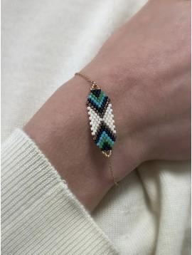 Bracelet Acier - Avec motif en perles de couleurs