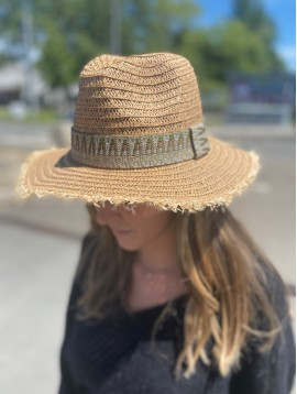 Chapeau Fedora bords naturel bandes fantaisies