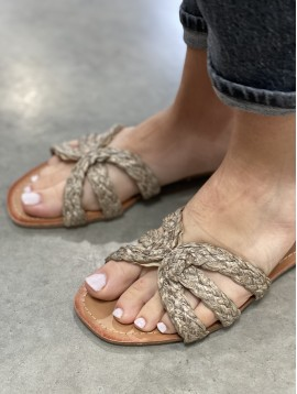 Sandales plate avec corde