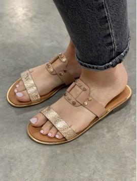 Sandales façon python et carré avec rivets