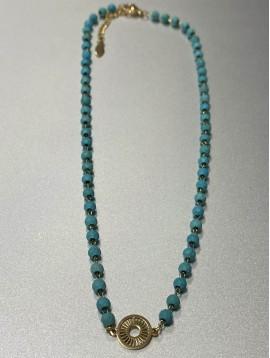 Collier Acier - Pendentif soleil fin encerclé et perles à facettes