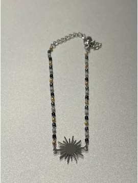 Bracelet Acier - Pendentif soleil sur chaine avec perles fines