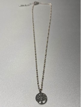 Collier Acier - Pendentif arbre de vie sur chaine avec perles fines
