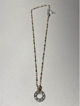 Collier Acier - Pendentif soleil géométrique sur chaine perles fines