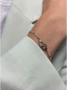 Bracelet Acier - Pendentif menottes entrelacées sur chaine et perles