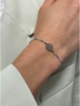 Bracelet Acier - Pendentif arbre de vie sur chaine et perles fines
