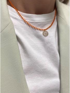 Collier Acier - Pendentif fleur géométrique avec perles à facettes