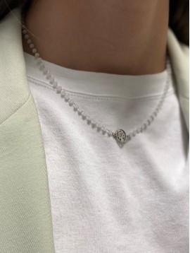 Collier Acier - Pendentif étoile sur chaine et perles à facettes