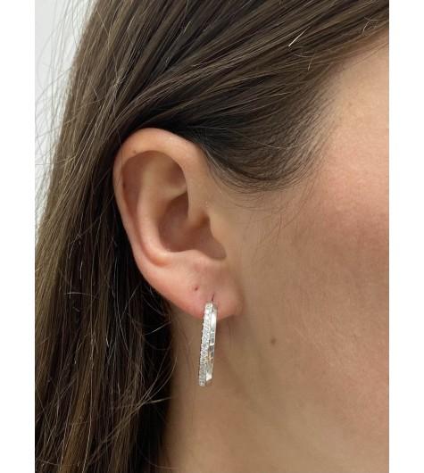 BO percées Argent - Grands anneaux 2.5cm incrustations strass