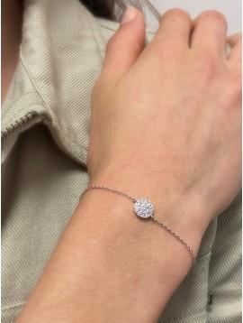 Bracelet Argent - Pastille avec zircon sur chaine fine