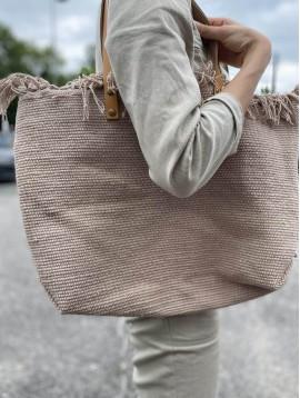 Sac porté épaule/cabas coton anses cuir uni