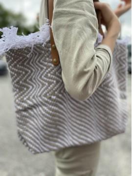 Sac porté épaule/cabas coton zigzag anses cuir
