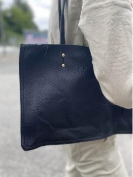 Sac porté épaule style shopping détails perles dorées