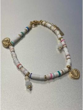 Chaine cheville Acier - Pendentifs coeurs sur chaine perles fines