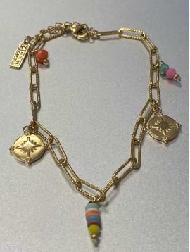 Chaine cheville Acier - Pendentifs pastilles et perles sur chaine