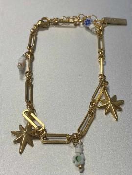 Chaine cheville Acier - Pendentifs étoile et perles fleur sur chaine