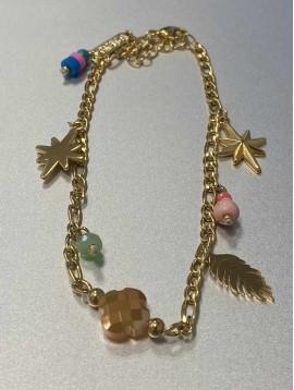 Chaine cheville Acier - Pendentifs étoile feuille et perles sur chaine