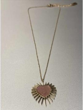 Collier Acier - Pendentif coeur étoilé sur chaine fine