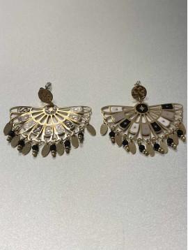 BO percées Acier - Pastilles avec pendentif éventail et perles
