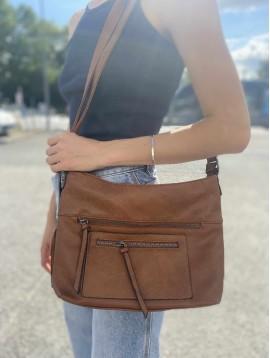 Sac porté travers/épaule style cuir vieilli avec détails zips