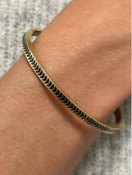 Bracelet Acier- Jonc fin clip gravé enchainement petites feuilles