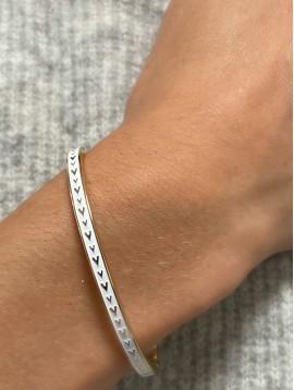 Bracelet Acier- Jonc fin clip avec petits coeurs sur bande colorée