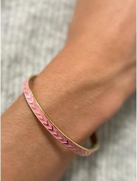 Bracelet Acier- Jonc clip gravé petites flèches sur bande colorée