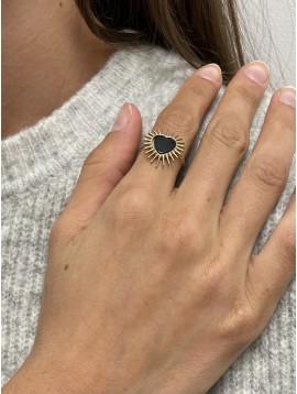 Bague Acier réglable - Coeur étoilé sur anneau torsadé ouvert
