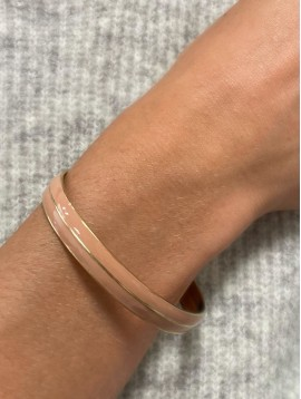 Bracelet Acier - Jonc ouvert coloré avec centre liseré doré