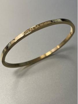 "Stainless Steel Bracelet - Thin bangle with ""Suivre sa bonne étoile"""