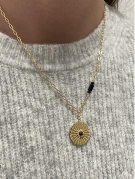Collier Acier - Médaillon gravé soleil centre perle sur chaine fine