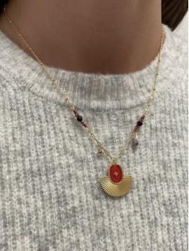 Collier Acier - Médaillon éventail centre étoile sur chaine et perles