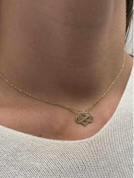 Collier Acier - Pendentif coeur et infini entrelacés sur chaine fine
