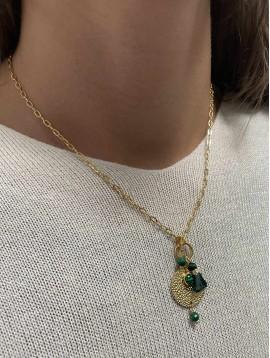 Collier Acier - Pendentif médaillon, perles et pompons sur chaine fine
