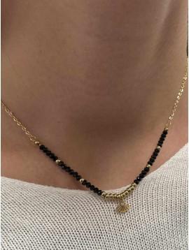 Collier Acier - Court avec perles et petit pendentif éventail