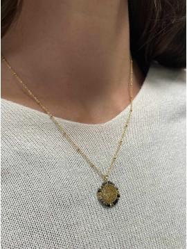 Collier Acier - Médaillon arbre de vie contours perlés sur chaine fine