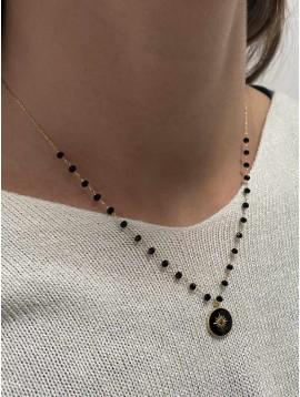 Collier Acier - Pendentif médaillon centre strass sur chaine perles
