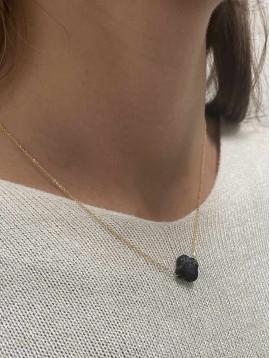 Collier Acier - Pendentif trèfle à facettes en pierre sur chaine fine