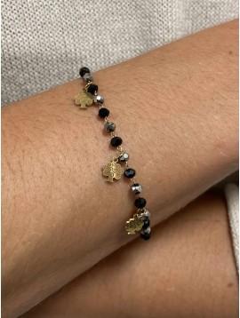 Bracelet Acier - Perles et petits pendentifs arbre enchanté sur chaine