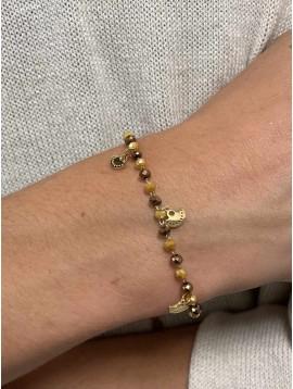 Bracelet Acier - Perles et petits pendentifs éventails sur chaine