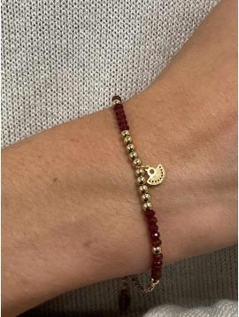 Bracelet Acier - Enchainement de perles et petit pendentif éventail