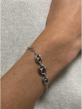 Bracelet Acier- Grains de café sur chaine maille forçat fine