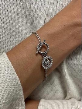 Bracelet Acier- Médaillon centre étoile strass sur chaine multi-maille