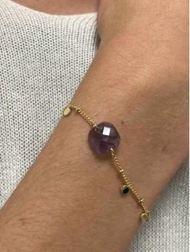 Bracelet Acier - Pierre naturelle sur chaine fine avec pampilles