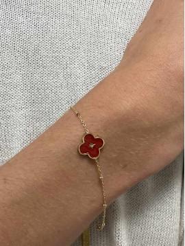 Bracelet Acier - Pendentif trèfle coloré centre étoile sur chaine fine